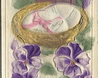 Heavily Embossed Novelty  Airbrushed Card Quaint Cottage Easter Egg Pansies 1911 Ephemera Easter Greeting Vintage Postcard
