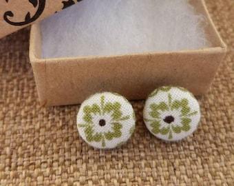 Green Flower Button Earrings (12 mm), Stud  Earrings, Button Earrings, Fabric Earrings, Post Earrings, Flower Earrings, Green Earrings