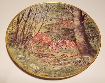 """Franklin Porcelain Collectors Plate - Woodland Year """"Fawns in the June Meadow"""""""