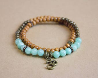 Beaded Wrap Bracelet, Double Wrap Bracelet, Wooden Beads Bracelet, Ohm Charm, Yoga Bracelet
