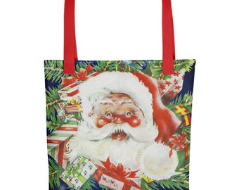 Vintage Santa Claus on Blue Christmas Holiday Tote Bag Carryall