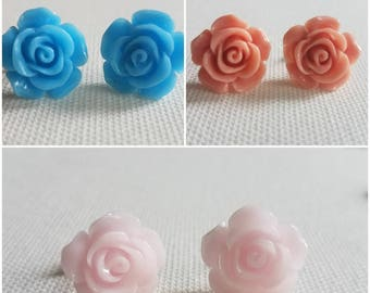 Resin Rose Earrings (14mm) - multiple colors available