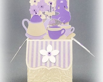 Handmade Teacup and Teapot card purple