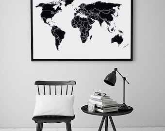 Digital download map etsy map world map world map print map art map wall art gumiabroncs Choice Image
