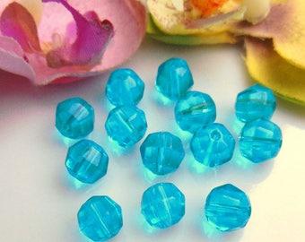 10 pearls 8mm blue Czech glass fire polished