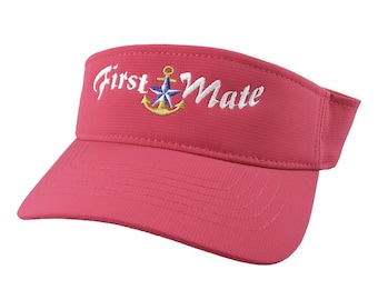 First Mate White Embroidery Nautical Star Anchor on an Adjustable Sporty Stylish Modern Pink Fuchsia Visor Summer Hat Cruising World Travel