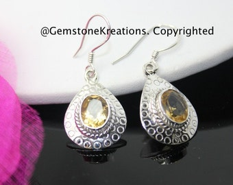Citrine Earrings,  925 Sterling Silver , Gemstone Earrings, Crystal Earrings