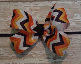 Boutique Halloween Chevron Skinny Elastic Headband Layered Infant/Toddler Hair Bow Bowband