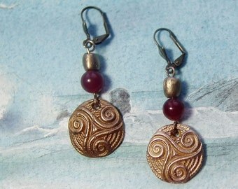 Celtic earrings : handmade gold colour bronze Triskel and beads+ Lapis lazuli or, ruby root or aventurin beads or  other gembeads