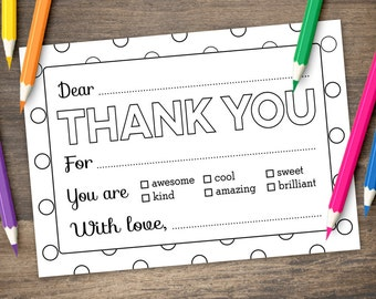 Kid Coloring Thank You Card Printable - BUBBLY