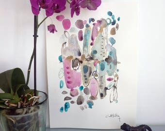 Grey pink blue abstract art