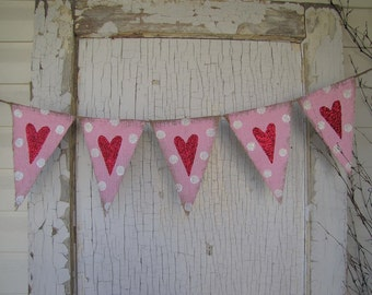 Medium size Valentines Day, Wedding Day Heart Burlap Banner, Photo Prop, Nursery, Baby. Babyy Shower