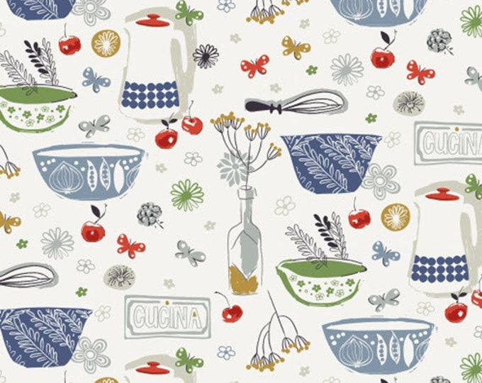 CUCINA - Cucina in Blue Red Green Multi - Kitchen Cotton Quilt Fabric - by Victoria Johnson for Windham Fabrics - 42609-X (W4692)