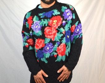 Vintage 1980s Floral Knit Oversized Knit Pullover Sweater