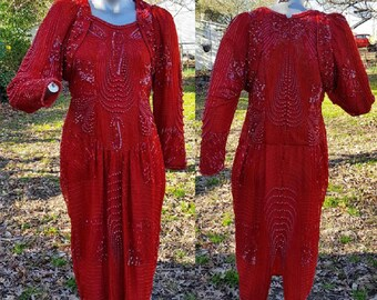 80s Cocktail Dress, Beaded Dress, Vintage Dress, Red Dress, Hand Made, Sequin Dress, Bridesmaid Dress, 80s Dress, 80s Party Dress, Gift
