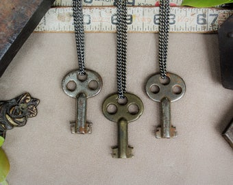 Antique Padlock Key Necklace | Trinity Double | Authentic | Vintage | Steampunk | Victorian | Unisex | Limited #'s!