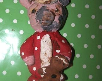 Folk Art Primitive Pig Santa w Gingerbread Doll Ornament Holiday