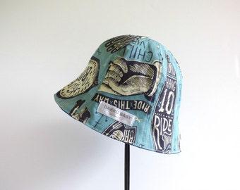 Cool baby sun hat, skull, surf board print blue summer hat, rad to the bone, toddler boy sun hat, surfer kids hat - made to order