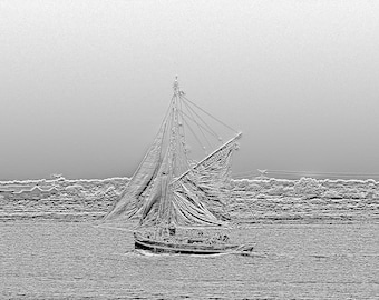 Sailboat rigging old in parade - photography of Monochrome Art
