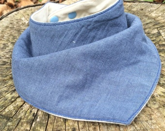 Baby Bib - Bandana Bib - Light Blue Gray