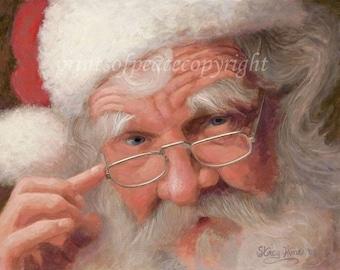Santa Clause Painting - Christmas Art - Santa Print -  5 x 7 - FREE SHIPPING this WEEK