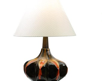 Maurice Chalvignac Art Pottery Table Lamp, Fat Lava Table Lamp, Mid Century Modern Table Lamp, Mid Century Ceramic Table Lamp