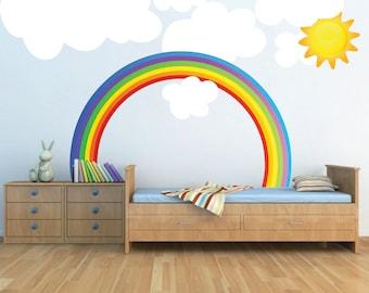 rainbow wall decal kids bedroom rainbows rainbow wall art nursery rainbow design kids - Rainbow Picture