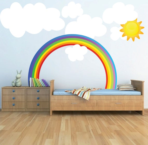 Rainbow Themed Room: Rainbow Wall Decal Kids Bedroom Rainbows Rainbow Wall Art