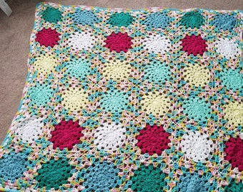 Crochet granny square blanket for toddler or child