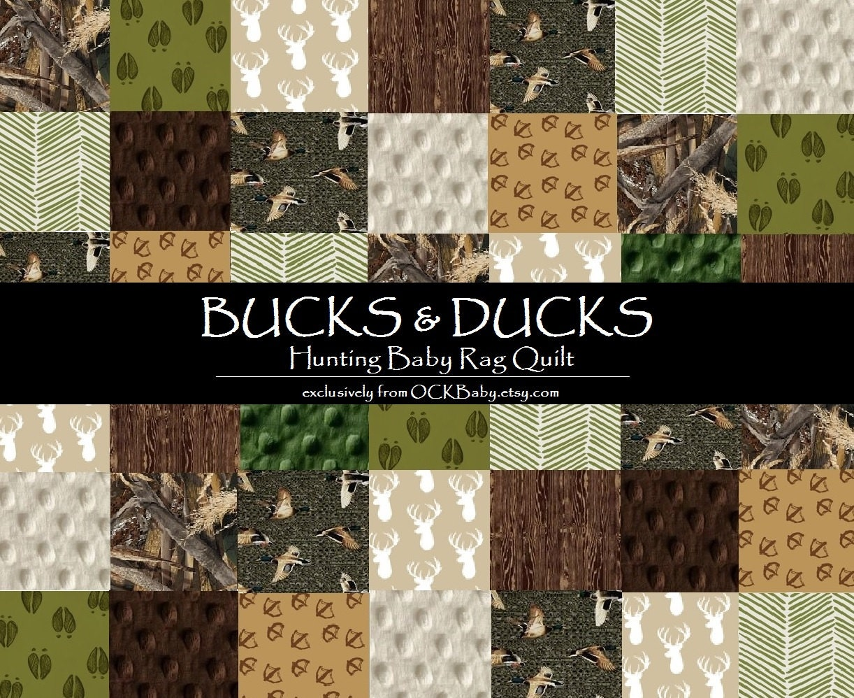 Baby Rag Quilt BUCKS & DUCKS™ Exclusively from OCKBaby : hunting quilts - Adamdwight.com