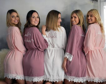 Bridesmaid Robes | Bridesmaid Gifts | Bridal party gift | Maid of Honor Robe | Cotton Lace Robes | Wedding Robe | Getting Ready Robe