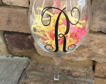 Monogram, Wine Glass, Vinyl Lettering
