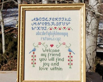 Cross Stitch Alphabet Embroidery Sampler Welcome My Friend