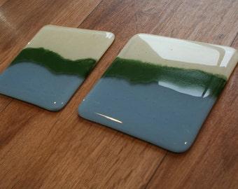 Paysage Coaster - crème, bleu poudre et émail vert
