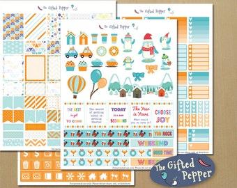 January Planner Sticker Kit for Erin Condren Vertical Layout. Winter kit, Penguins.
