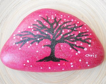 Hand Painted Stones,Home Decor,Painted Rock, Pebble,Acrylic, Tree of Life, pink