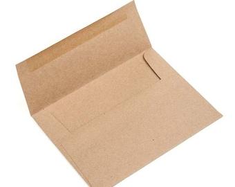 A7 Size 7 1/4 x 5 1/4 Inch Brown Bag Kraft Envelopes, 70LB, Set of 25