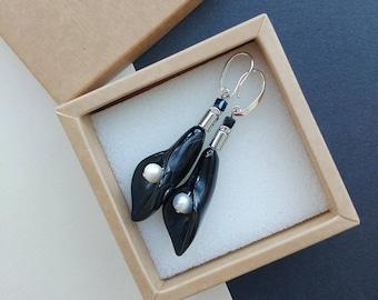 Statement earrings black dangle earrings statement crystal jewelry black and white earrings statement drop earrings black leaf earrings