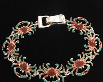Sterling Silver Red And Aqua Maryland Crab Bracelet