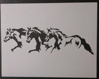 3 Horses Running Custom Stencil FAST FREE SHIPPING