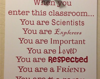When You Enter This Classroom Vinyl Lettering ONLY (board not included) //  Classroom Wall Art