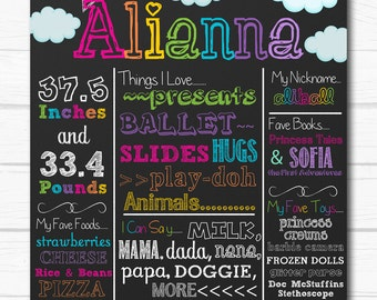 "Personalized Rainbow Birthday Party Printable 8""x10"" or 16""x20"" Chalkboard Sign"