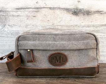 Personalized Dopp Kit, Leather Dopp Kit, Toiletry Bag, Travel Bag, Fathers Day Gift, Canvas Dopp Kit, Monogramed Dopp Kit, Groomsmen Gift
