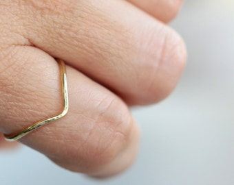 Chevron Ring * Chevron Jewelry * Skinny Ring * Midi Ring * V Ring * Modern Ring * Pointed Ring * Thin Ring * V Shaped Ring * Stacking Rings