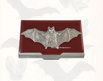 Vampire Bat Large Business Card Case Inlaid in Hand Painted Oxblood Enamel Metal Wallet Gothic Victorian Personalized Options