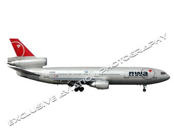 Northwest Airlines DC-10 Airliner (new colors) - Cutout .PNG / .JPG image