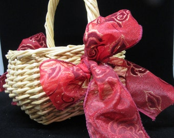 Basket Flower Girl Vintage Small Rectangle Natural Wicker Red and Gold Bows Wedding Gift Storage Home Decor Country Decor Cottage Chic