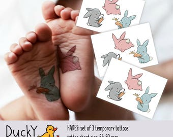 Set Of 3 Temporary Tattoos Hares Kids With Cute Bunnies Toddler