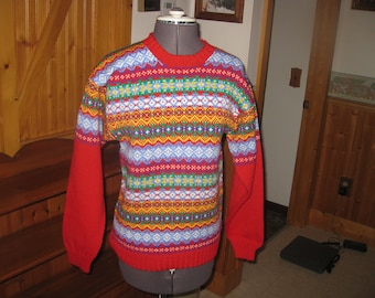 Vtg Marceau Wool Nordic Red sweater made in Minnesota Vtg Fair of Isle Ski sweater pull over small with free ship