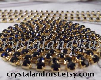4mm - Montana Blue Rhinestone Cup Chain --- Gold Base Metal